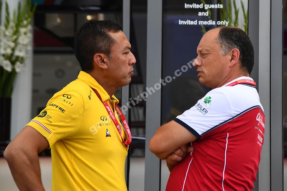 Mia Sharizman (Renault) and Frederic Vasseur (Alfa Romeo-Ferrari)mbefore the 2019 French Grand Prix at Paul Ricard. Photo: Grand Prix Photo