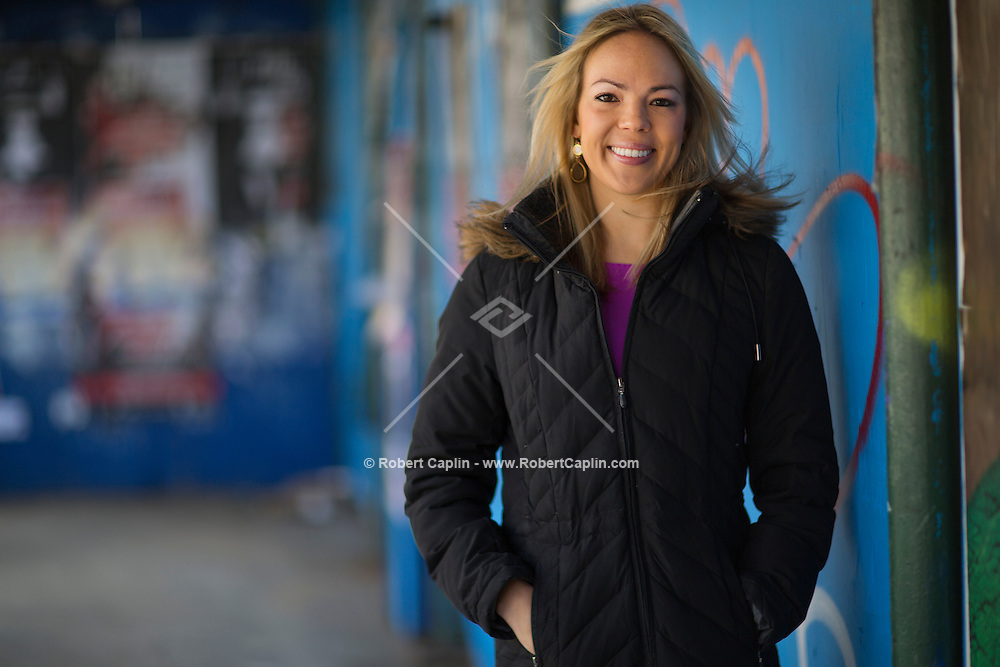 Travel Agent Katie Bluzmanis of Liberty Travel in New York City...Photo by Robert Caplin..