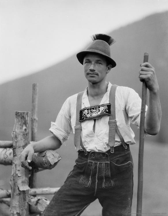 Farmer in lederhosen, Molln, Austria, c1921