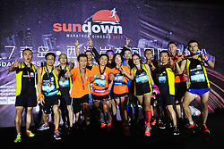 August 27, 2017 - Qingdao, Qingdao, China - Qingdao, CHINA-26th August 2017: (EDITORIAL USE ONLY. CHINA OUT) ..The China's first sundown marathon is held in Qingdao, east China's Shandong Province, from August 26th to 27th, 2017. Thousands of runners from China and other countries attended the marathon. The runner from Singapore Li Wei won the first prize. (Credit Image: © SIPA Asia via ZUMA Wire)