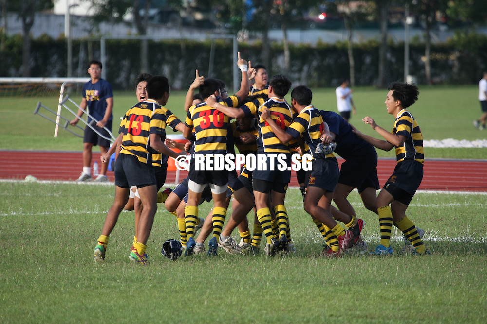 Home Team Academy, Thursday, April 19, 2013 – Anglo-Chinese School (Independent) came back from 14–17 down at half time to beat Anglo-Chinese School (Barker Rd) 19–17 in the final of the National B Division Rugby Championship.<br /> <br /> Story: http://www.redsports.sg/2013/04/20/b-div-rugby-acsi-acs-barker/