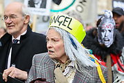 February 22, 2020, London, England, United Kingdom: British fashion designer Vivienne Westwood, centre, attends a protest outside Australia House against the extradition of Wikileaks founder Julian Assange, in London, Saturday, Feb. 22, 2020. (Credit Image: © Vedat Xhymshiti/ZUMA Wire)