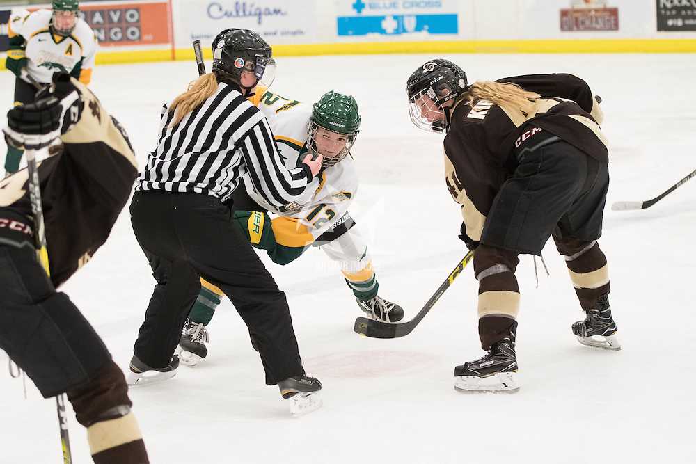1st year forward Chelsea Hallson (12) of the Regina Cougars in action during the Women's Hockey home game on January 7 at Co-operators arena. Credit: Arthur Ward/Arthur Images