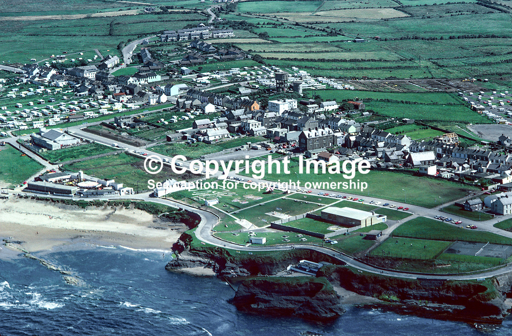 Aerial photograph, Bundoran, Co Donegal, Rep of Ireland, 19790164a.<br /> <br /> Copyright Image from Victor Patterson, Belfast, UK<br /> <br /> t: +44 28 9066 1296 (from Rep of Ireland 048 9066 1296)<br /> m: +44 7802 353836<br /> e: victorpattersonbelfast@gmail.com<br /> <br /> www.images4media.com<br /> <br /> Please see my full Terms and Conditions of Use at https://www.images4media.com/p/terms-conditions - it is IMPORTANT that you familiarise yourself with them.<br /> <br /> Images used online incur an additional cost. This cost should be agreed in writing in advance. Online images must be visibly watermarked i.e. © Victor Patterson or that of the named photographer within the body of the image. The original metadata must not be deleted from images used online.<br /> <br /> This image is only available for the use of the download recipient i.e. television station, newspaper, magazine, book publisher, etc, and must not be passed on to a third party. It is also downloaded on condition that each and every usage is notified within 7 days to victorpattersonbelfast@gmail.com.<br /> <br /> The right of Victor Patterson (or the named photographer) to be identified as the author is asserted in accordance with The Copyright Designs And Patents Act (1988). All moral rights are asserted.