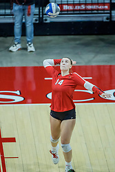 BLOOMINGTON, IL - October 23: Sarah Kushner serves during a college Women's volleyball match between the ISU Redbirds and the Drake Buldogs on October 23 2021 at Illinois State University in Normal, IL. (Photo by Alan Look)