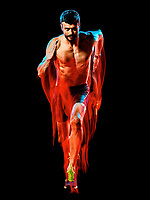 one caucasian topless muscular mature man runner. running jogger jogging isolated on black background with light painting speed mouvement effect