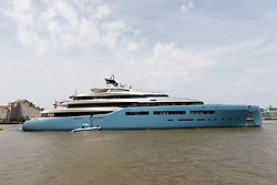 © Licensed to London News Pictures. 01/07/2018. London, UK.  Billionaire Spurs owner, Joe Lewis's latest state of the art superyacht, Aviva arrives in London today and moors at Butlers Wharf near Tower Bridge on the River Thames. The 321 feet long multi-million pound mega yacht, Aviva – the owner's fourth yacht to bear the same name, Aviva, was built in strict secrecy at a yard in Germany. Aviva is believed to feature a full-size tennis court and can accommodate up to 16 guests. London born businessman, Joe Lewis who owns Tottenham Hotspur Football Club, 80 is worth an estimated £4bn and now lives in the Bahamas. Photo credit: Vickie Flores/LNP