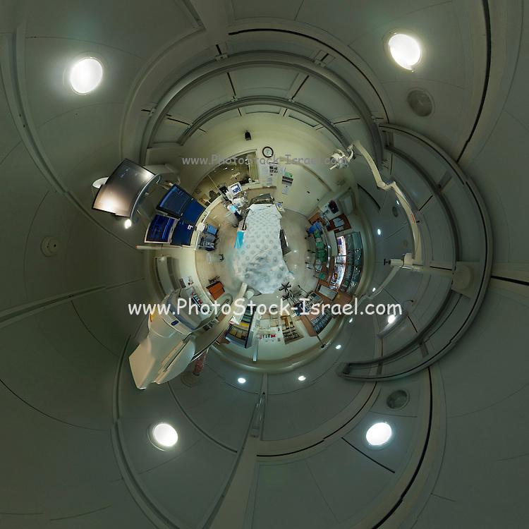Polar panorama of a hospital X-ray machine and room.