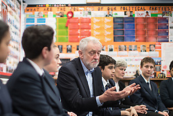 © Licensed to London News Pictures . 22/03/2018. Manchester, UK. JEREMY CORBYN visits a class at Stretford High School with local MP KATE GREEN (2nd from right) , in Trafford , after launching of the Labour Party's local election campaign . Photo credit: Joel Goodman/LNP
