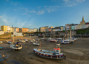 Tenby Wales Harbour at Low Tide with boats all resting on sand. Licensing and Editions of 8