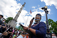 """Community member Moriah Solomon speaks as hundreds of protesters turned out June 7, 2020, for a Black Lives Matter """"Circle of Peace"""" protest at Centre Square in Easton, Pennsylvania. (Photo by Matt Smith)"""