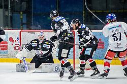 27.11.2018, Ice Rink, Znojmo, CZE, EBEL, HC Orli Znojmo vs HC TWK Innsbruck Die Haie, 23. Runde, im Bild v.l. Teemu Tapio Lassila (HC Orli Znojmo) Dominik Tejnor (HC Orli Znojmo) Patrik Parkkonen (HC Orli Znojmo) Andrew Clark (HC TWK Innsbruck) // during the Erste Bank Eishockey League 23th round match between HC Orli Znojmo and HC TWK Innsbruck Die Haie at the Ice Rink in Znojmo, Czechia on 2018/11/27. EXPA Pictures © 2018, PhotoCredit: EXPA/ Rostislav Pfeffer