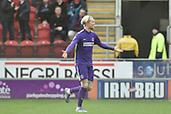 Simon Makienok of Charlton Athletic celebrates scoring to go 1-0 up  during the Sky Bet Championship match between Rotherham United and Charlton Athletic at the New York Stadium, Rotherham, England on 30 January 2016. Photo by Ian Lyall.