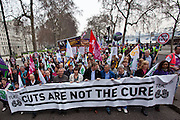 TUC March for the Alternative 26 March 2011 Union leaders lead the march along  Embankment, London.