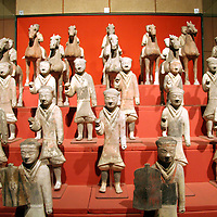 Asia, China, Shaanxi, Xian. Miniature Terra Cotta Warriors unearthed and on display at the Shaanxi History Museum in Xian.