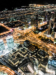 Night pic form the observation deck on the 124th floor of the Burj Al Khalifa building, currently credited as being the world's tallest building. Images from the MSC Musica cruise to the Persian Gulf, visiting Abu Dhabi, Khor al Fakkan, Khasab, Muscat, and Dubai, traveling from 13/12/2015 to 20/12/2015.