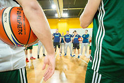 FIBA Ball during Practice session of Slovenian National basketball team before FIBA Basketball World Cup China 2019 Qualifications against Belarus, on November 20, 2017 in Arena Stozice, Ljubljana, Slovenia. Photo by Vid Ponikvar / Sportida