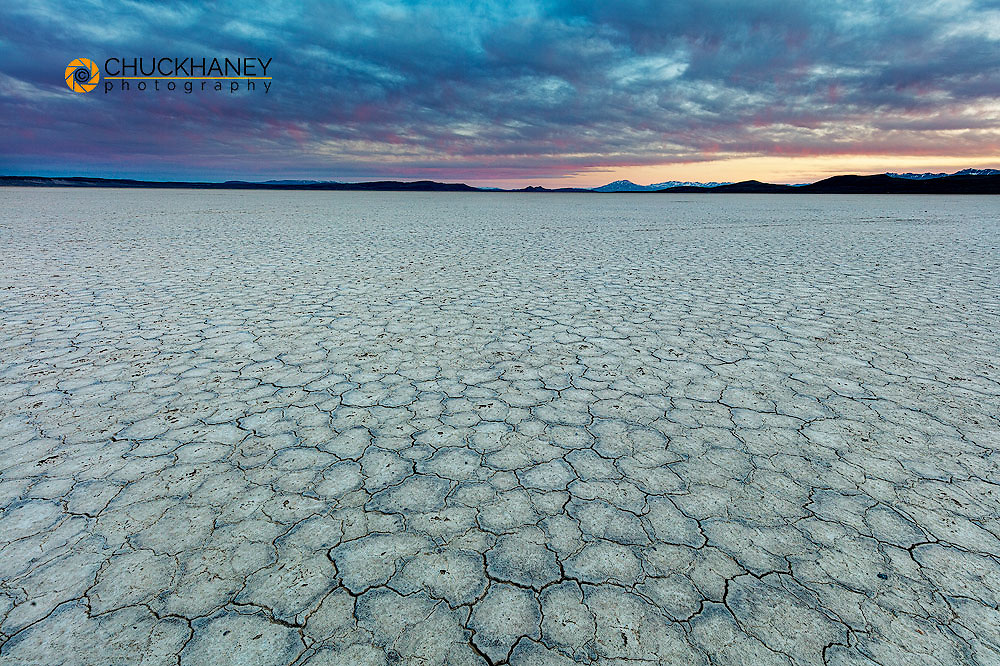 Playa at sunset on the Alvord Desert in Harney County, Oregon, USA