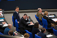 DEU, Deutschland, Germany, Berlin, 24.10.2017: AfD-Parlamentsgeschäftsführer Bernd Baumann und Jürgen Braun, Alternative für Deutschland (AfD), bei der konstituierenden Sitzung des 19. Deutschen Bundestags mit Wahl des Bundestagspräsidenten.