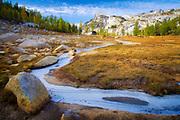 Frozen small creek near Perfection Lake in the Enchantment Lakes area of Alpine Lakes Wilderness, Washington