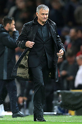 12th September 2017 - UEFA Champions League - Group A - Manchester United v FC Basel - A rain-soaked Man Utd manager Jose Mourinho shakes off his jacket after the match - Photo: Simon Stacpoole / Offside.