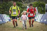 Johannes and Kim Mocke's young daughter leads them across the finish line of Stage 2 of the Fairview Dryland Traverse, on the 4th of November 2016.<br /> <br /> <br /> Photo by: Oakpics/Fairview Dryland Traverse/SPORTZPICS<br /> <br /> <br /> {dem16gst}