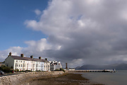 Terraced houses at Chapel Street ('Stryd y Cape', in the Welsh language), on the seafront of Beaumaris, on 3rd October 2021, in Beaumaris, Anglesey, Wales.