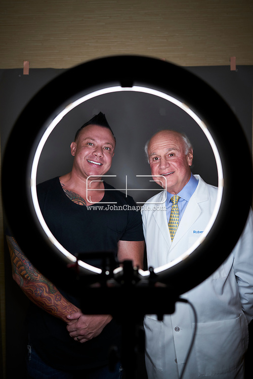 September 8, 2018. Beverly Hills, California. Larry Nolan and Dr. Robert Kotler. Larry negotiated the price on a nose surgery that he had done by Robert.<br /> Photo Copyright John Chapple / www.JohnChapple.com