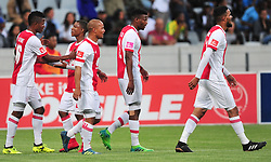 Cape Town 180109 Ajax Cape Town players celebrating striker Fagrie Lakay's goal against Mamelodi Sundowns in the PSL match at Cape Town Stadium. Even though Ajax were leading,sundowns came back strong to finish the game 2-1 with goals from Rocardo Nascimento and Sibusiso Vilakazi. Picture:Phando Jikelo/African News Agency(ANA)