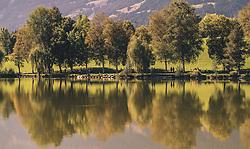 THEMENBILD - herbstlich gefärbte Bäume spiegeln sich an der Wasseroberfläche des Ritzensees, aufgenommen am 29. September 2019 in Saalfelden, Oesterreich // autumnal coloured trees are reflected at the water surface of the Ritzensee in Saalfelden, Austria on 2019/09/29. EXPA Pictures © 2019, PhotoCredit: EXPA/ JFK