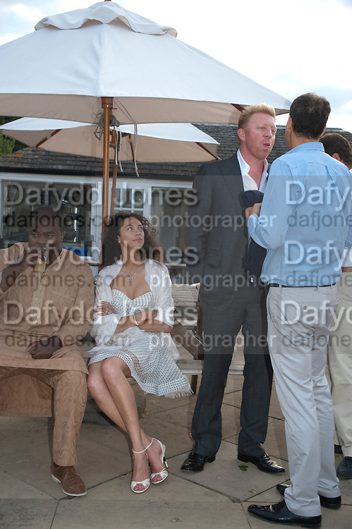 MISAN HARRIMAN; LILY BECKER; BORIS BECKER; , Chucs Dive & Mountain Shop charity Swim Party: Lido at The Serpentine. London. 4 July 2011. <br /> <br />  , -DO NOT ARCHIVE-© Copyright Photograph by Dafydd Jones. 248 Clapham Rd. London SW9 0PZ. Tel 0207 820 0771. www.dafjones.com.