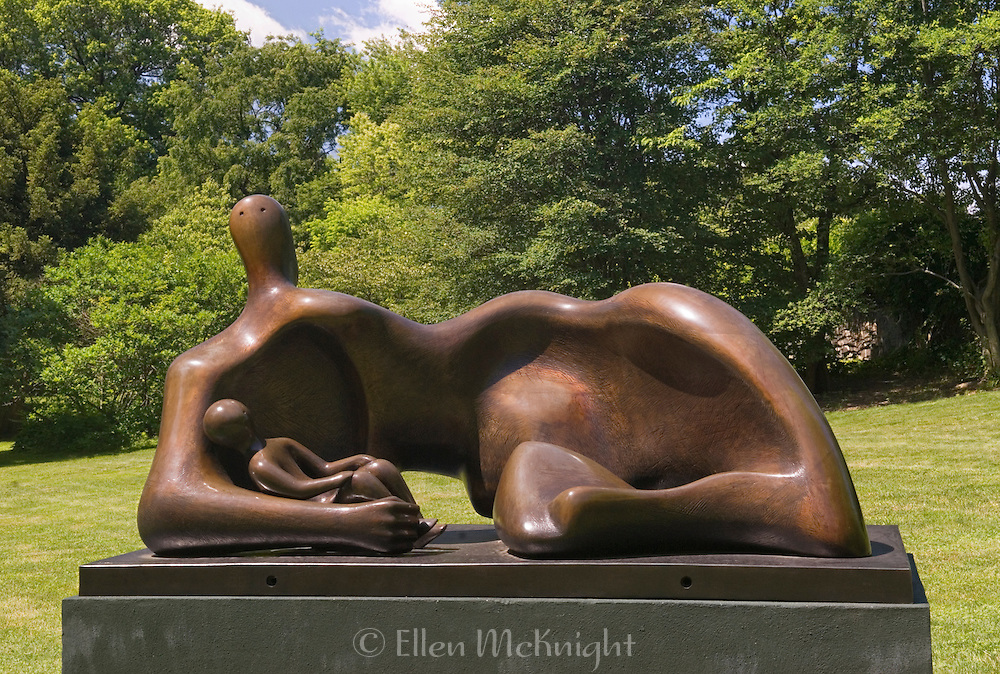 "The Bronx, NY--Henry Moore's ""Draped Reclining Mother and Baby"" (1983) at the ""Moore in America"" exhibition at the New York Botanical Garden in June 2008"