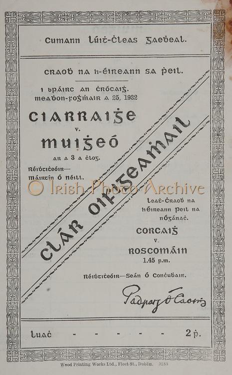 All Ireland Senior Football Final, Kerry v Mayo, 25.09.1932, 09.25.1932, 25th September 1932, Kerry 2-07 Mayo 2-04, 25091932AISFCF,.