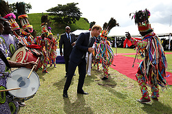 Prince Harry during a youth rally at Brimstone Hill Fortress where he watched a number of cultural performances all led by the young people after arriving on the island of St Kitts for the second leg of his Caribbean tour.
