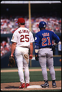 ST. LOUIS - SEPTEMBER 7 : Mark McGwire #25 of the St. Louis Cardinals and Sammy Sosa #21 of the Chicago Cubs stand together at first base during the home run race on September 7, 1998 at Busch Stadium in St. Louis, Missouri.  (Photo by Ron Vesely)