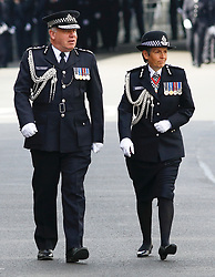 © Licensed to London News Pictures.10/04/2017.London, UK. Deputy Commissioner of Met Police CRAIG MACKEY (L) and new Commissioner of  Met Police CRESSIDA DICK (R)  arriving at Southwark Cathedral in London where the funeral of PC Keith Palmer is due to take place this afternoon (Mon). PC Palmer was murdered just inside the gate by Westminster attacker Khalid Masood - an attack in which he also killed four people on Westminster Bridge.Photo credit: Tom Nicholson/LNP