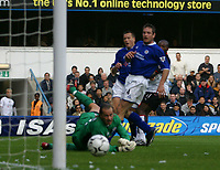 Photo: Jo Caird<br /> Fulham v Leicester<br /> Loftus Rd<br /> Barclaycard Premiership 2003<br /> 04/10/2003.<br /> <br /> goalie Ian Walker watches as Luis Boa Morte scores<br /> <br /> #4 Gerry Taggart
