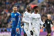 Crystal Palace #11 Wilfried Zaha, Crystal Palace #17 Christian Benteke, Leicester City (21) Vicente Iborra during the Premier League match between Leicester City and Crystal Palace at the King Power Stadium, Leicester, England on 16 December 2017. Photo by Sebastian Frej.