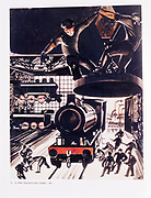 'At the Factory', 1927 by Alexander Deineka. .Engine works for the manufacture of steam railway locomotives.  Russian.