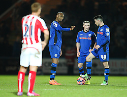 A disappointed Rochdale team await kick off after conceding the fourth goal - Photo mandatory by-line: Matt McNulty/JMP - Mobile: 07966 386802 - 26/01/2015 - SPORT - Football - Rochdale - Spotland Stadium - Rochdale v Stoke City - FA Cup Fourth Round