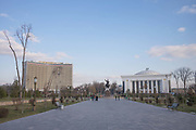Amir Timur Square on 24th February 2014 in Tashkent, Uzbekistan. Amir Timur Square is named after the Uzbek national hero, with a monument of the powerful Timur astride his horse proclaims 'Strength is in Justice'.