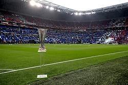 The UEFA Europa League trophy on display during the UEFA Europa League final at Parc Olympique Lyonnais, Lyon.