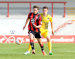 Tom Lockyer of Bristol Rovers challenges Shaun Miller of Morecambe - Mandatory byline: Neil Brookman/JMP - 07966 386802 - 03/10/2015 - FOOTBALL - Globe Arena - Morecambe, England - Morecambe FC v Bristol Rovers - Sky Bet League Two