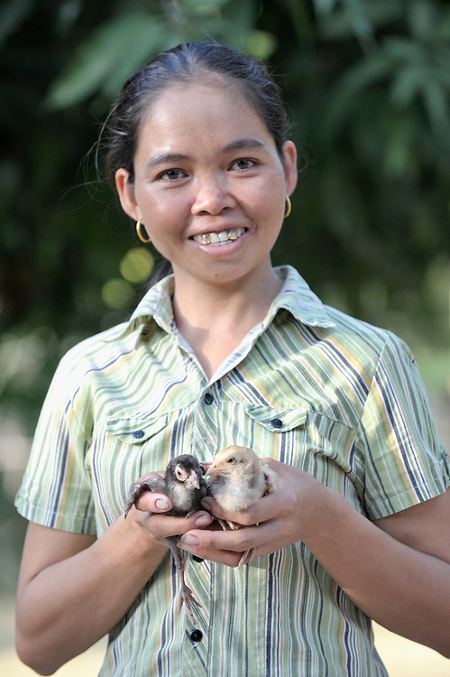 Nob Chan raises chickens to supplement her household income in Khnach, a village in the Kampot region of Cambodia.