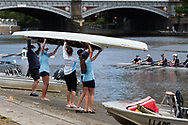 School girls are seen lifting their four over their heads after rowing during the COVID-19 in Melbourne. With over a week of zero cases in Victoria, Premier Daniel Andrews is expected to make major announcements on Sunday about further easing of restrictions. (Photo by Dave Hewison/Speed Media)