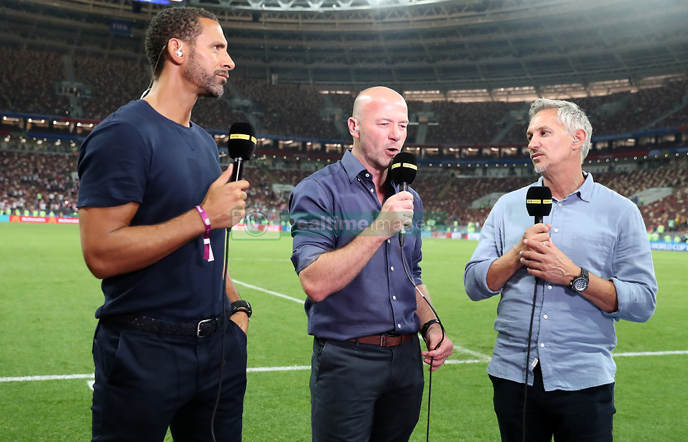 BBC Pundits Rio Ferdinand, Alan Shearer and presenter Gary Lineker after the FIFA World Cup, Semi Final match at the Luzhniki Stadium, Moscow. PRESS ASSOCIATION Photo. Picture date: Wednesday July 11, 2018. See PA story WORLDCUP Croatia. Photo credit should read: Owen Humphreys/PA Wire. RESTRICTIONS: Editorial use only. No commercial use. No use with any unofficial 3rd party logos. No manipulation of images. No video emulation.