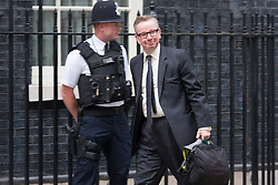 Downing Street, London July 15th 2014. Former Education Secretary Michael Gove arrives at Downing Street as he is moved sideways in the Cabintet to Chief Whip, with Nicky Morgan taking over the education portfolio.