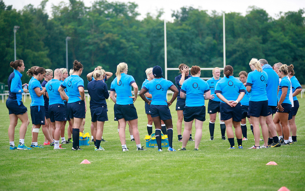 Players in a huddle during training. WRWC England training at Stade Montelievres, Saintry, France, on 7th August 2014