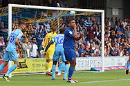 AFC Wimbledon striker Kweshi Appiah (9) chance just goes over cross bar during the EFL Sky Bet League 1 match between AFC Wimbledon and Coventry City at the Cherry Red Records Stadium, Kingston, England on 11 August 2018.