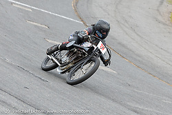 Jody Perewitz racing in the Sons of Speed Vintage Motorcycle Races at New Smyrina Speedway. New Smyrna Beach, USA. Saturday, March 9, 2019. Photography ©2019 Michael Lichter.